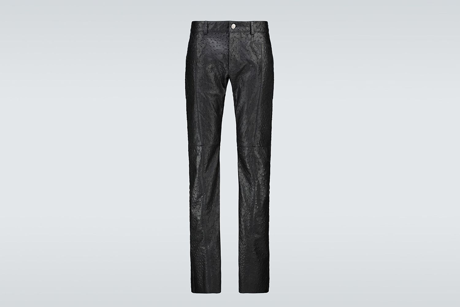 Ostrich Cage Leather Pants