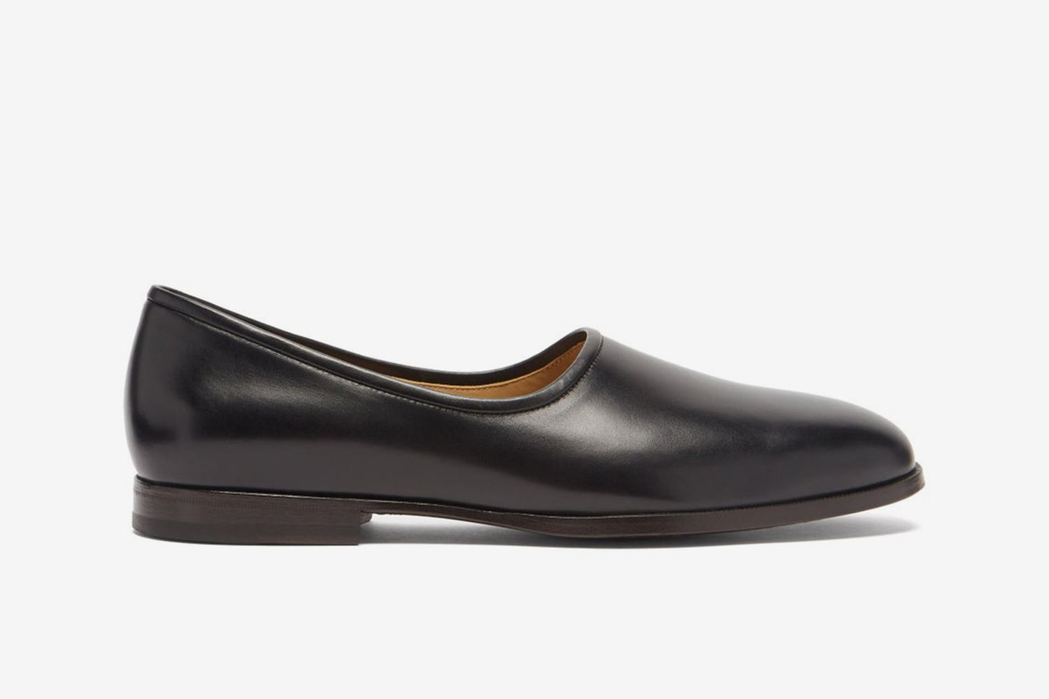 Square-Toe Leather Slippers