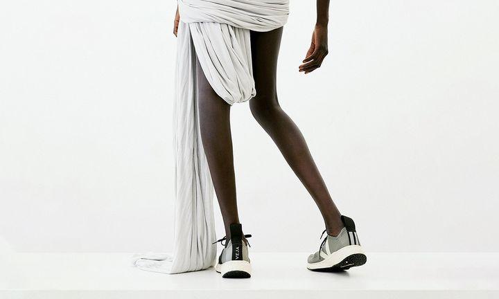 rick owens x veja sneaker asymmetrical white dress