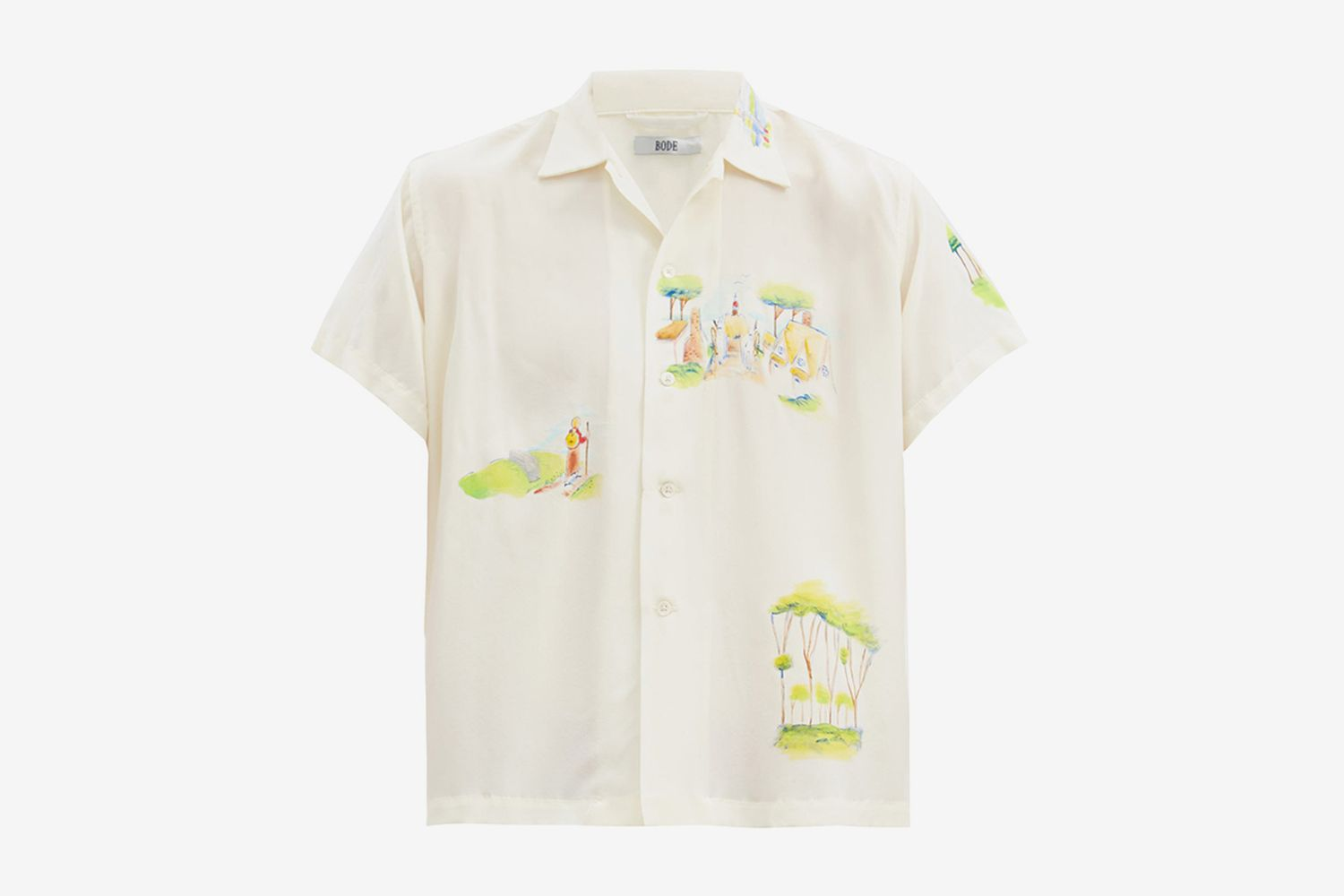 Hand-Painted Landscape Silk Shirt