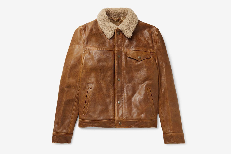 Shearling-Trimmed Leather Trucker Jacket