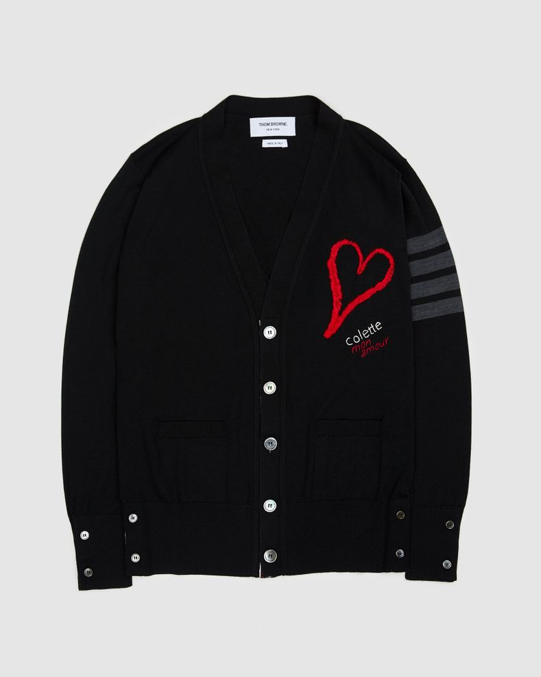 Colette Mon Amour x Thom Browne — Black Heart Cardigan