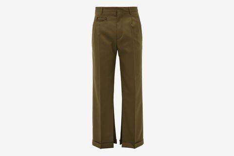Split-Hem Virgin-Wool Trousers