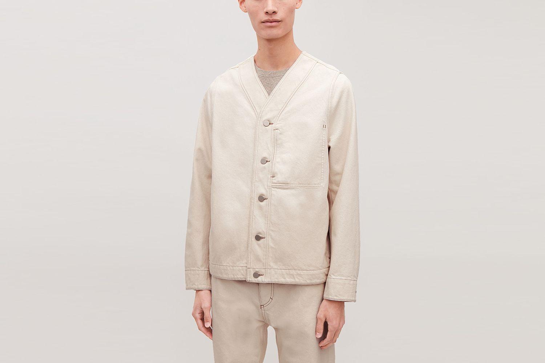 Topstitched Denim Shirt Jacket