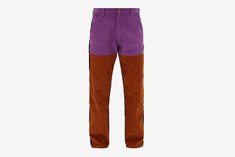 Colour-Blocked Cotton-Corduroy Trousers