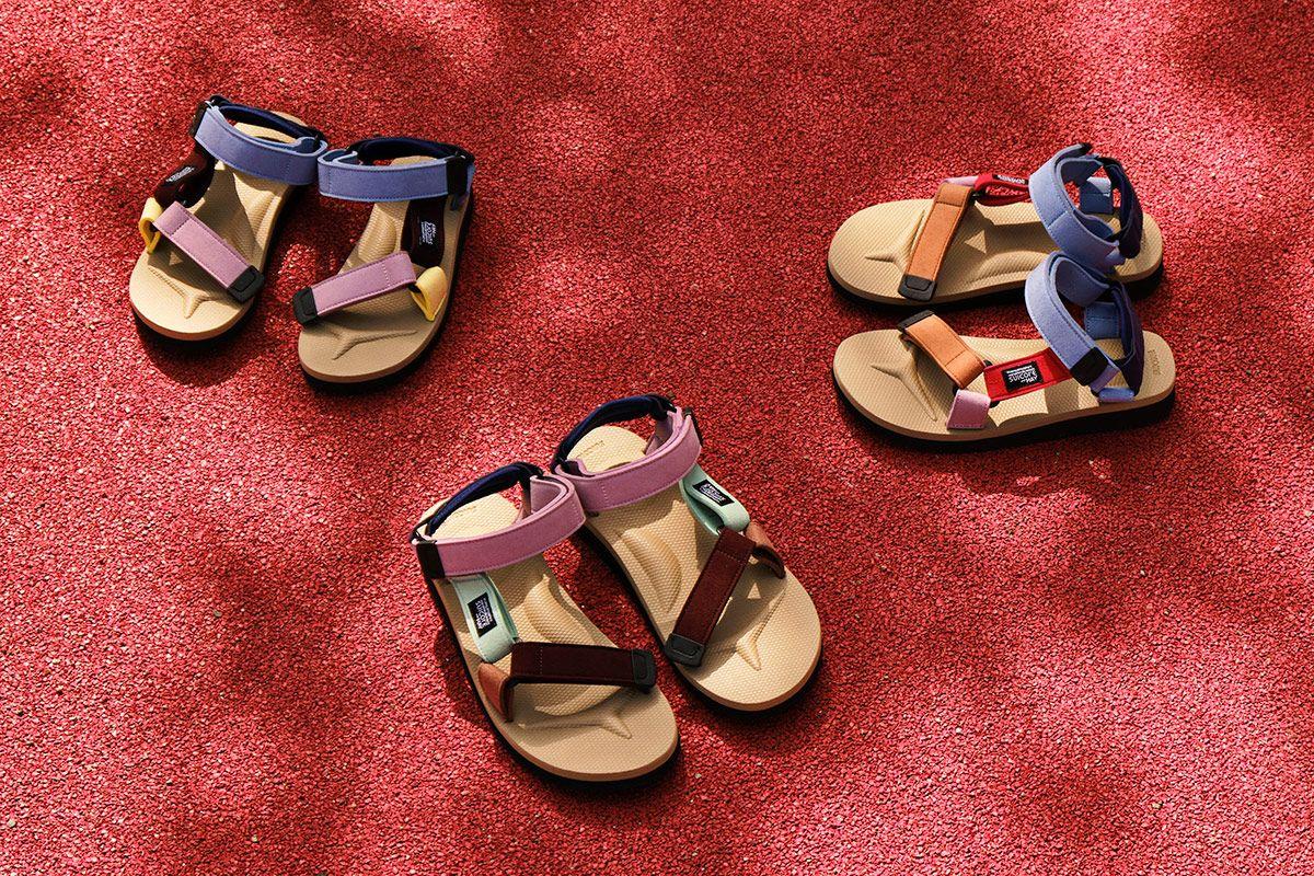 Three HAY x SUICOKE DEPA sandals with distinct color blocking