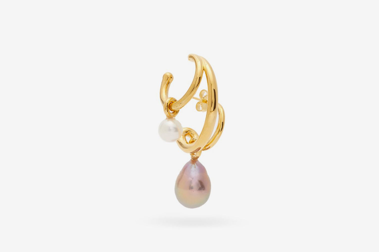 Triplet Pearl & 18kt Gold-Plated Single Earring
