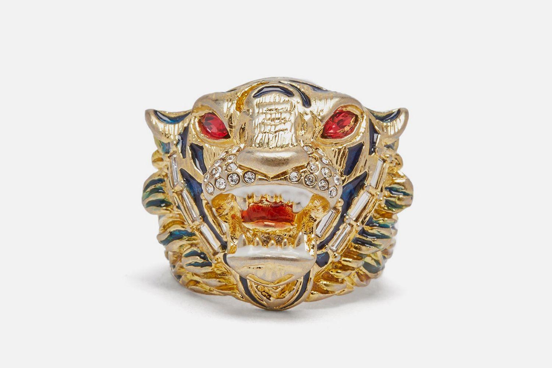 Crystal Embellished Tiger Head Ring
