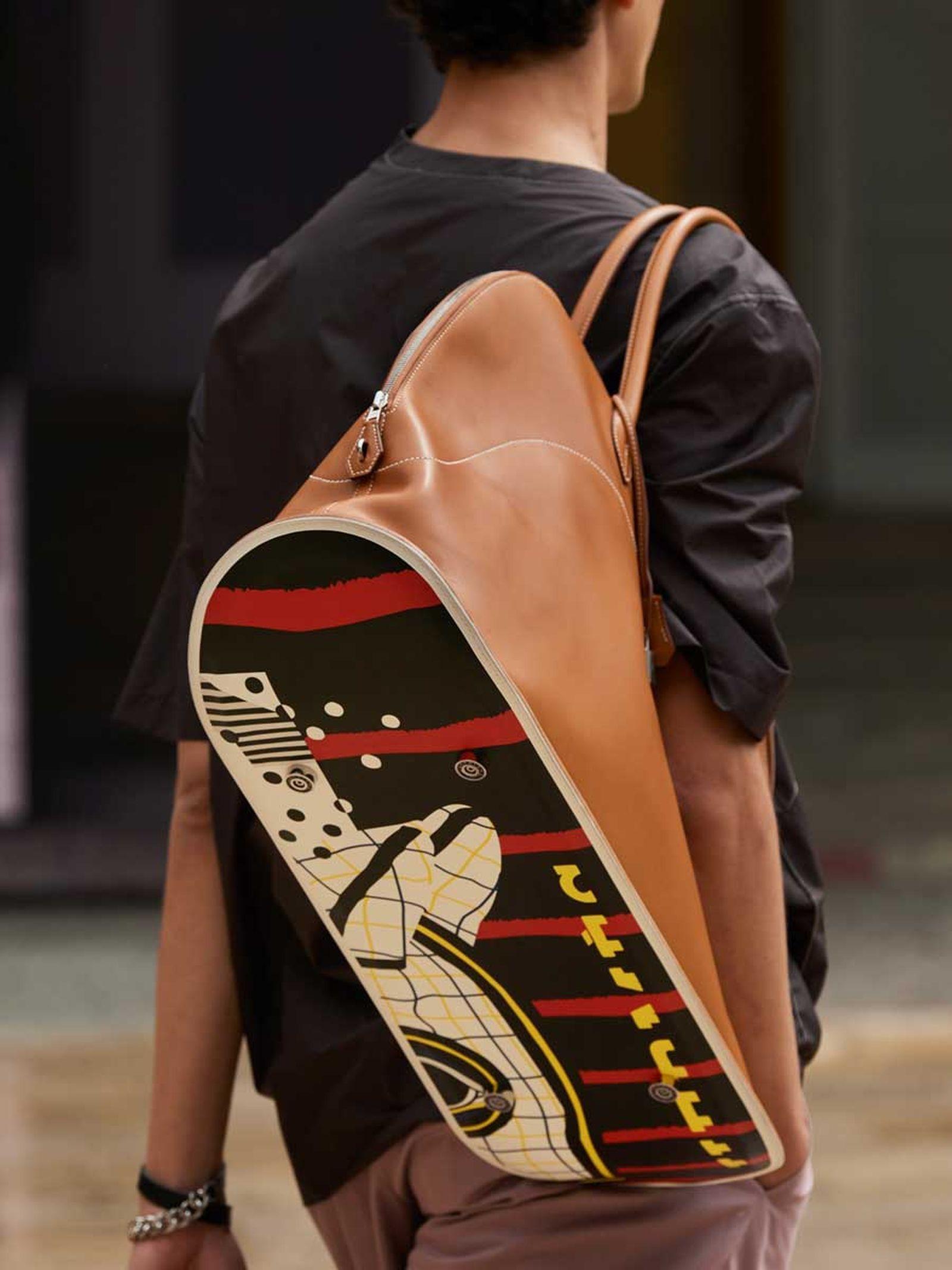 hermes skateboard bolide bag charm spring summer 2022 runway menswear