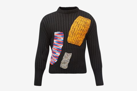 AW14 Knitted-Patchwork Wool-Blend Sweater