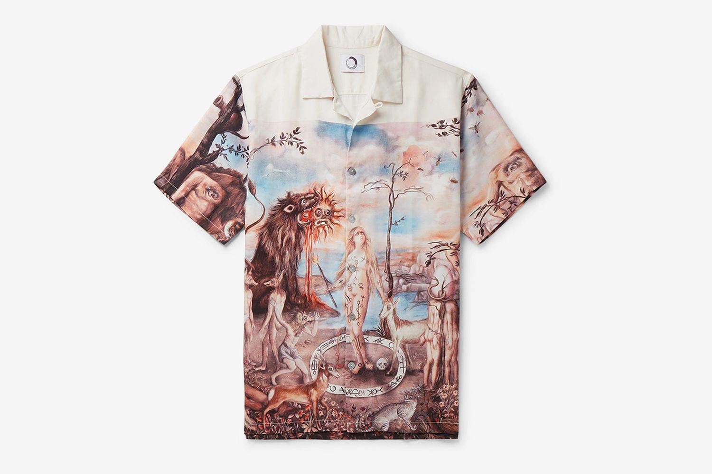 Mandeville's Trip Camp-Collar Printed Tencel Shirt