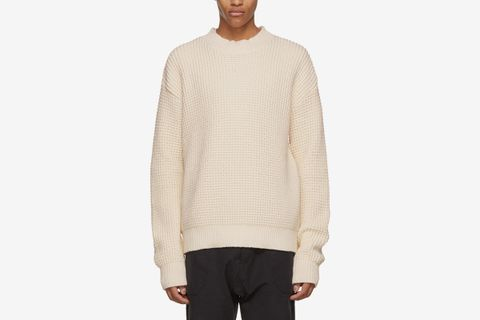 Waffle-Knit Mock Neck Sweater