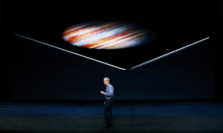 Tim Cook on stage at an apple conference