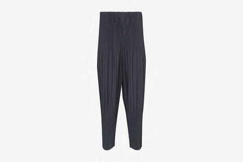 Pleated Tapered-Leg Pants