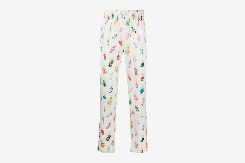 Bottle-Print Silk Trousers