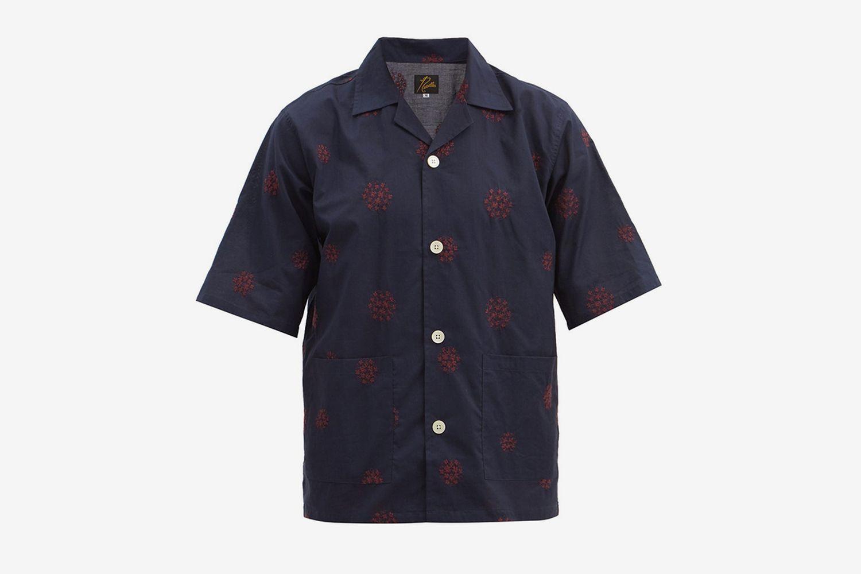 Cuban-Collar Floral-Embroidered Cotton Shirt