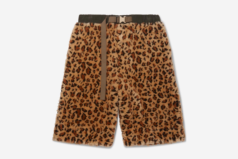 Leopard Print Faux Fur Shorts