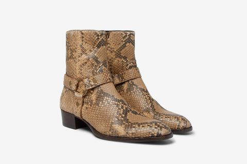 a97abc33867 Saint Laurent Wyatt Python Harness Boots