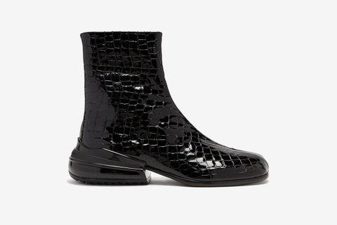Tabi Split-toe Crocodile-effect Leather Boots