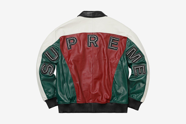 Studded Arch Logo Leather Jacket