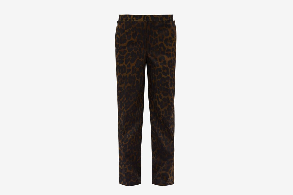 Leopard-print Straight-leg Cotton Trousers