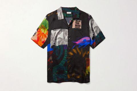 Camp-Collar Twill Shirt