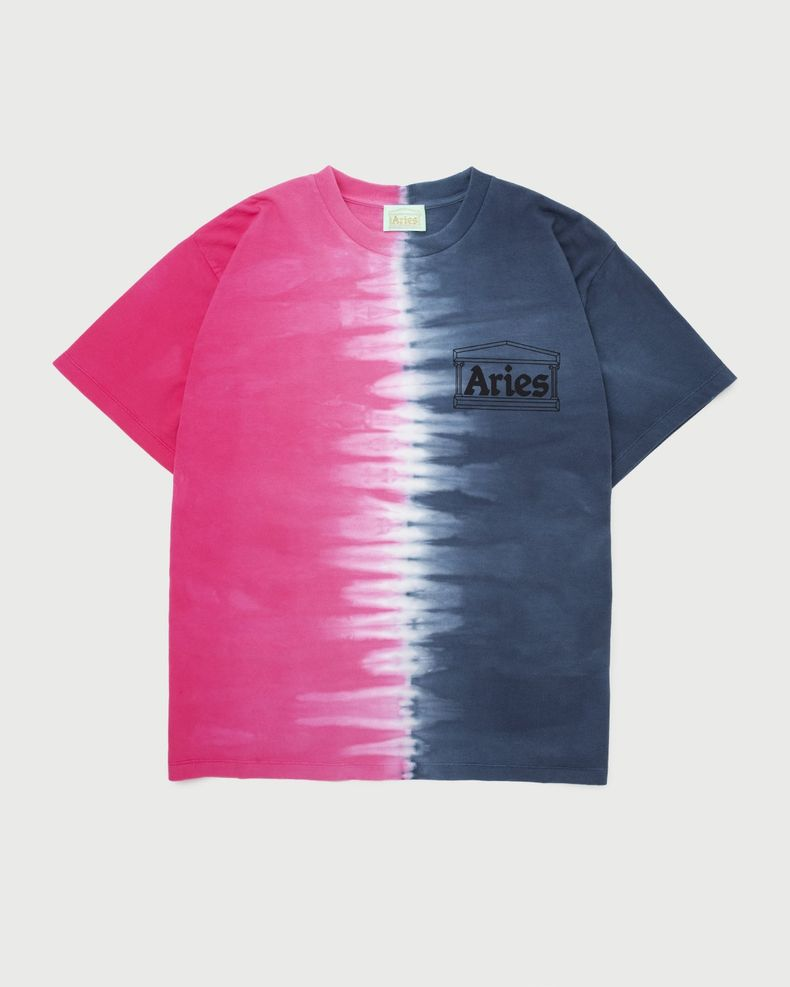 Aries — Tie Dye Half and Half Tee Blue/Fuchsia