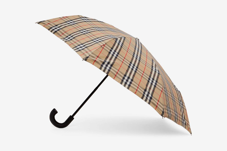 Vintage Check Folding Umbrella