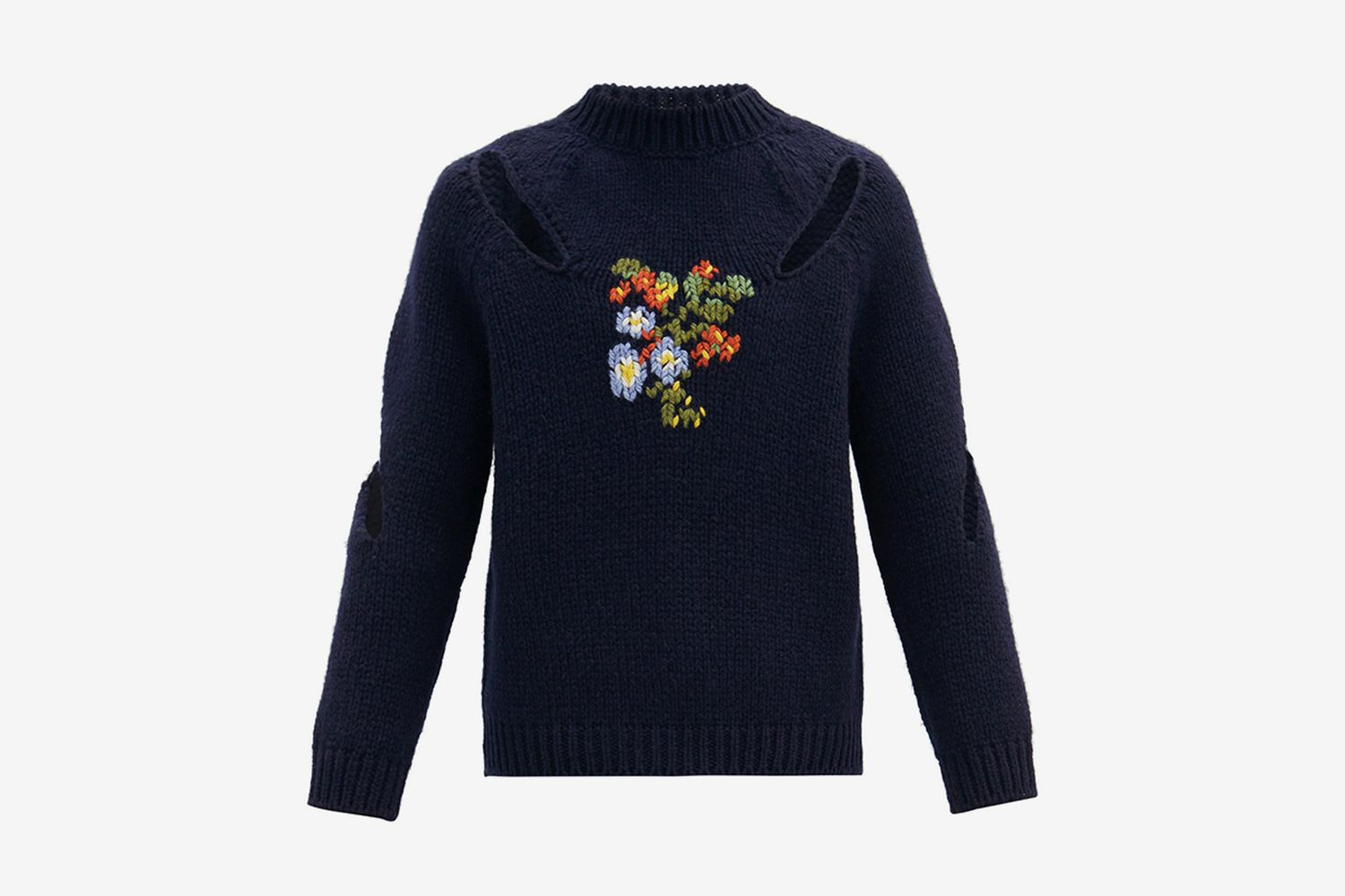 Floral-Embroidered Slashed Sweater