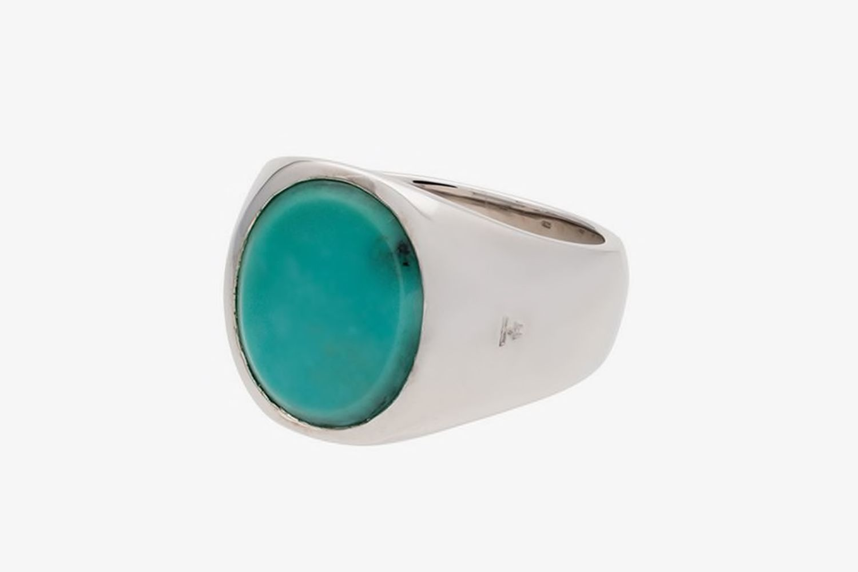 Metallic Opal Sterling Silver Signet Ring