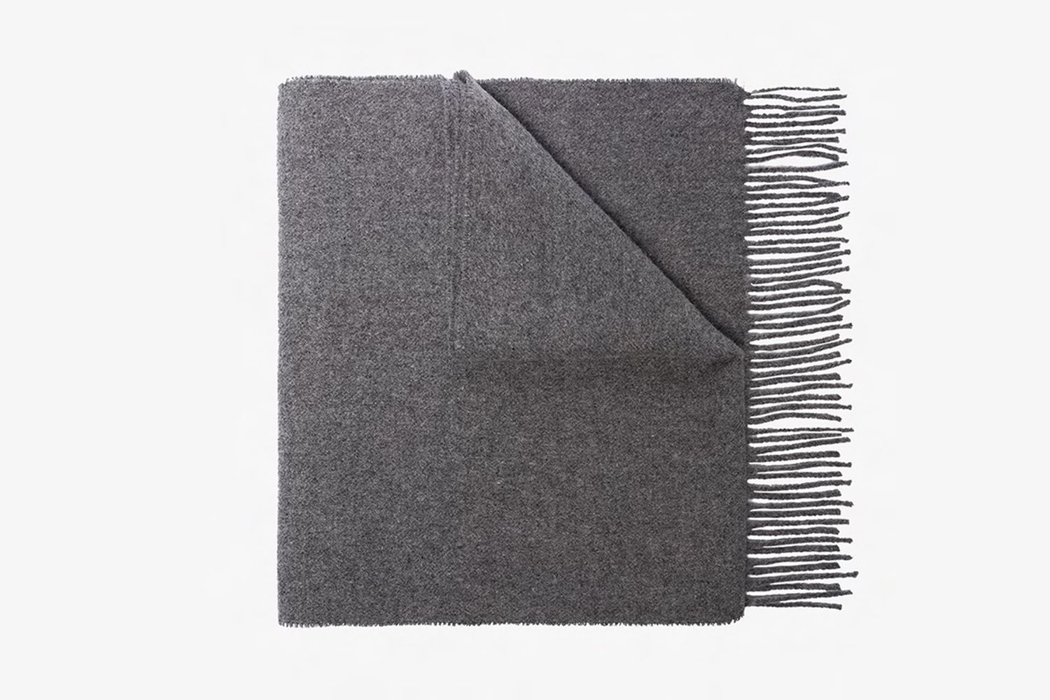 grey embroidered logo wool scarf
