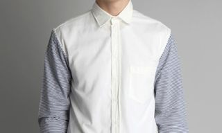 OTHER Charles Seersucker Sleeve Cotton Shirt