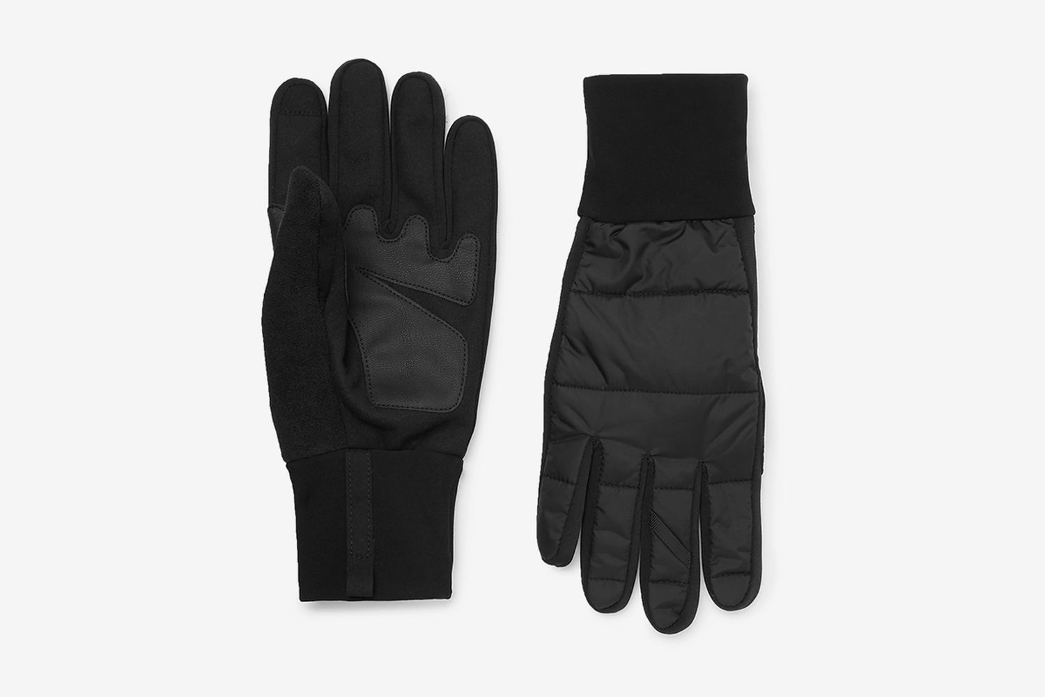 Panelled Shell And Faux Leather Gloves