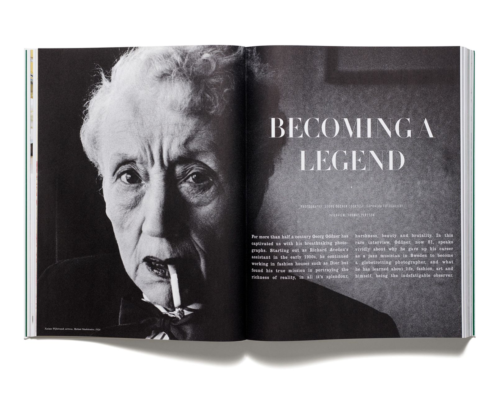 BECOMING A LEGEND - Interview with Georg Oddner for 'Acne Paper' issue 1, 2005. Portrait of Naima Wifstrand by Georg Oddner, 1958.