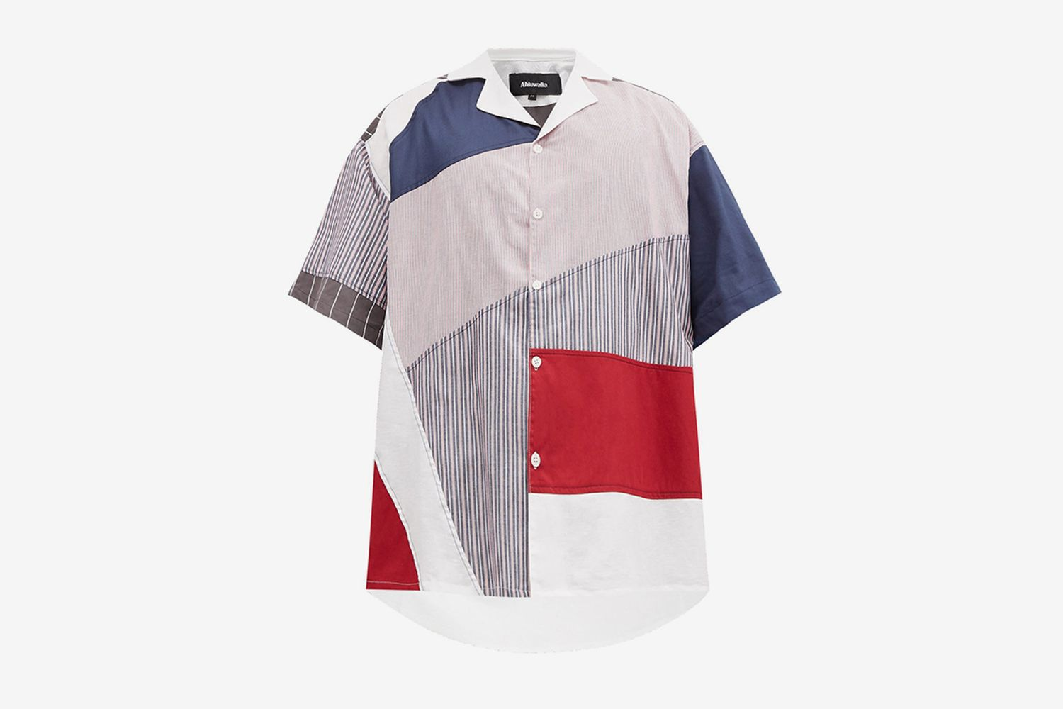 Striped Patchwork Upcycled-Cotton Shirt