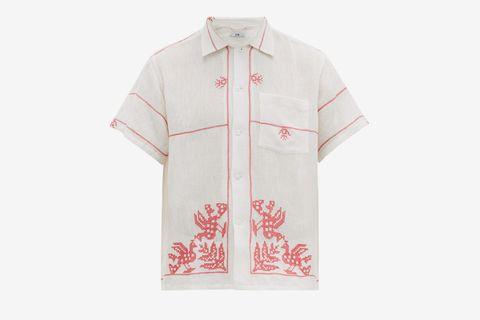 Cross-Stitched Cotton-Muslin Shirt
