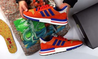 """Watch as the 'Dragon Ball Z' x adidas ZX 500 RM """"Goku"""" Gets Unboxed"""