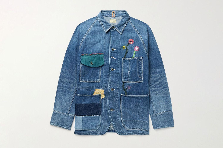 Appliquéd Embellished Denim Jacket