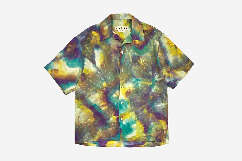 Tie Dye Viscose Jacquard Shirt
