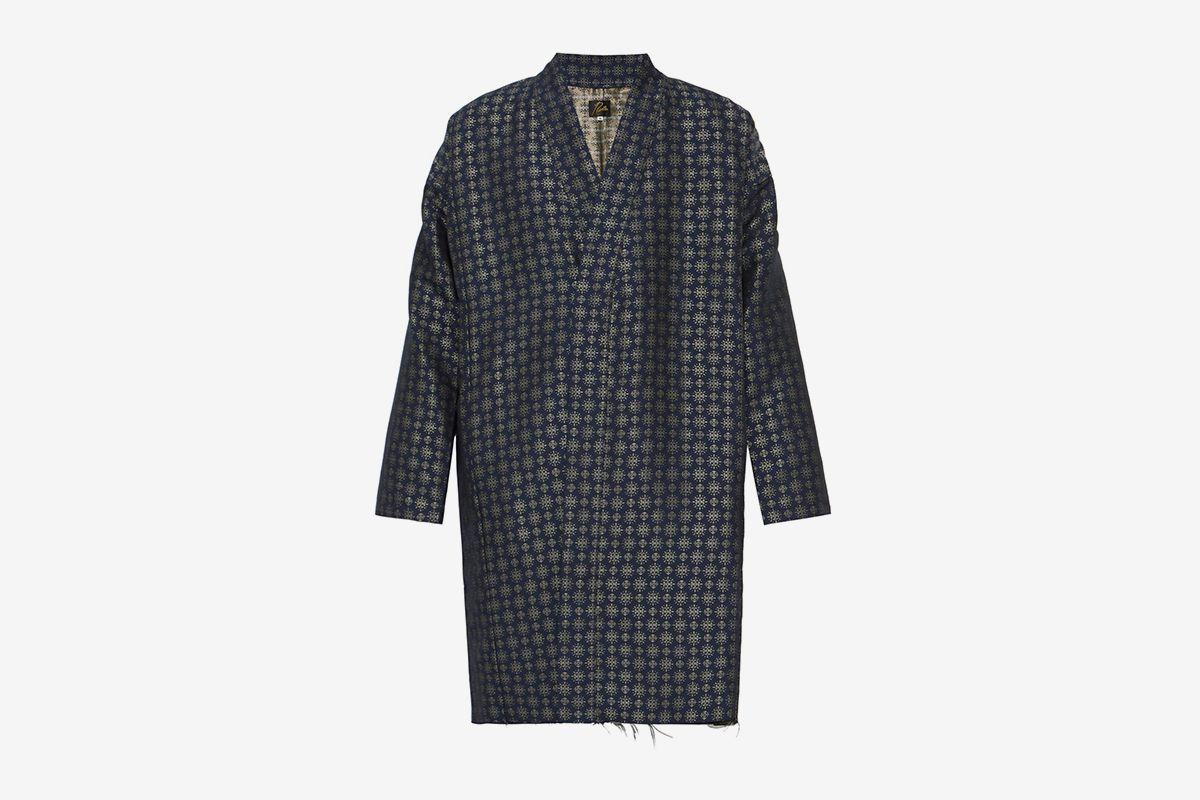 Jacquard Frayed Hem Kimono Jacket