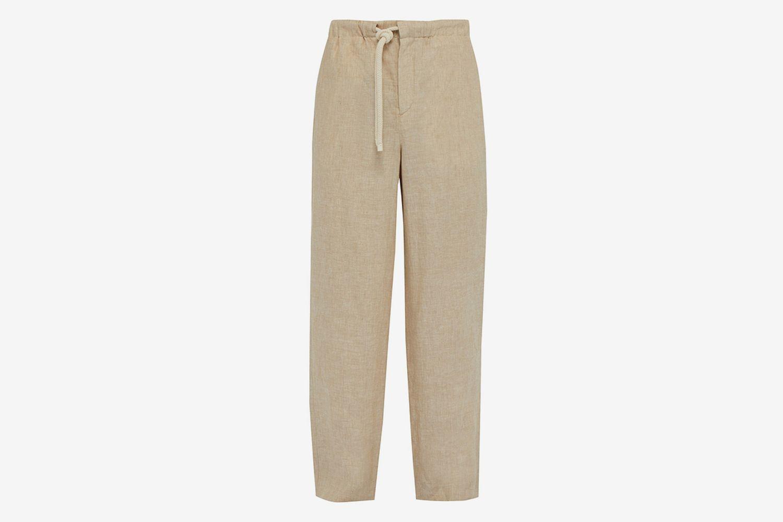 Drawstring Waist Linen Trousers