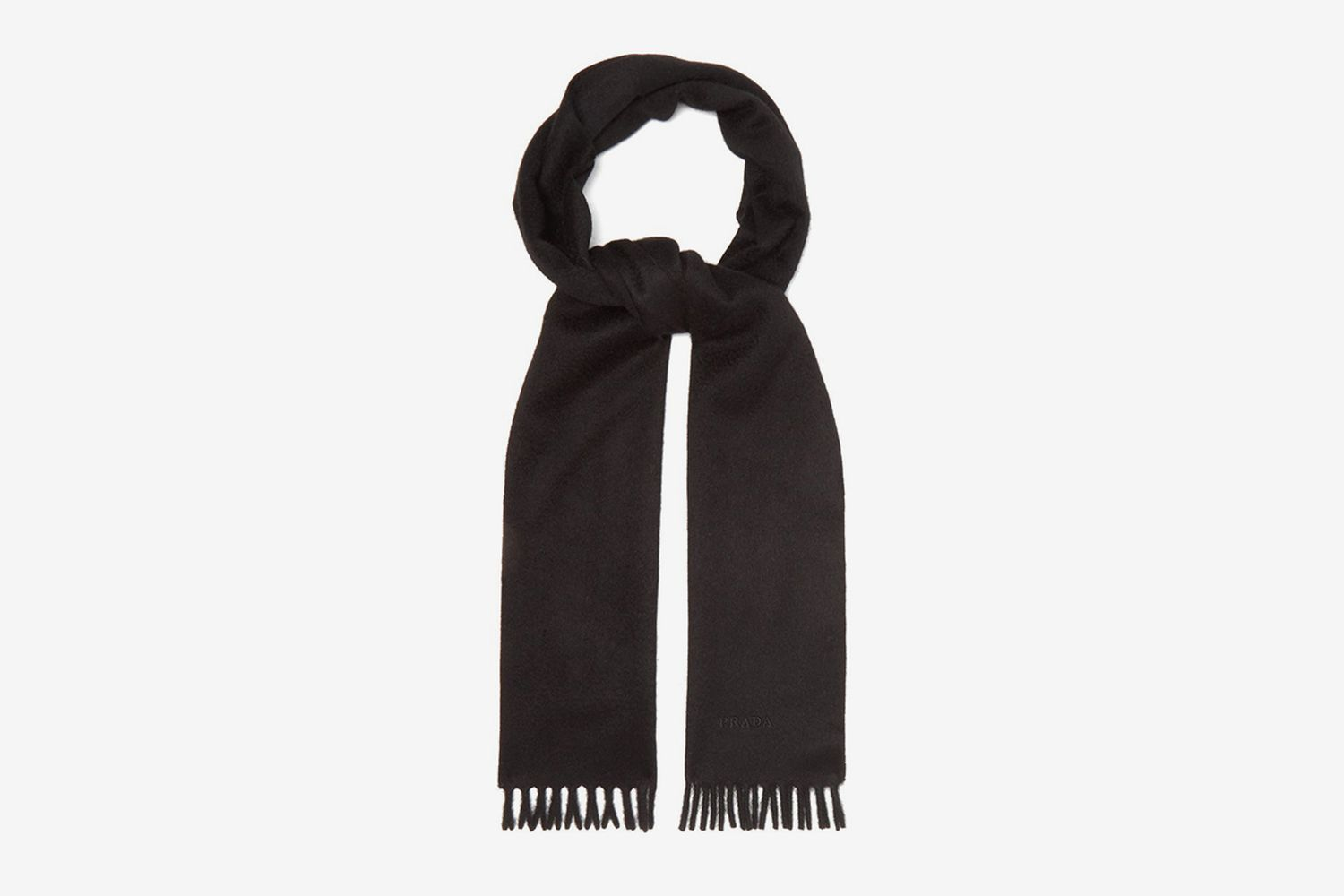 Logo-Embroidered Brushed-Cashmere Scarf