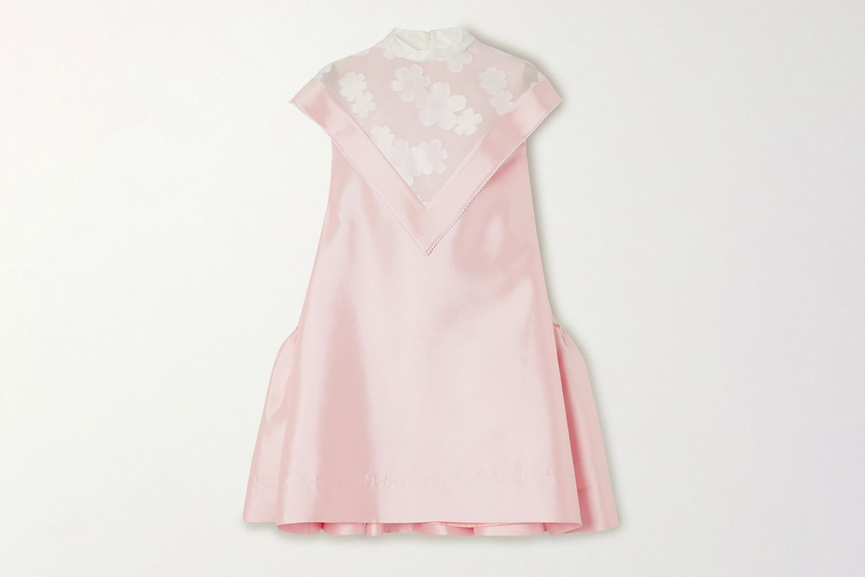 Layered Ruffled Tulle-Paneled Silk-Twill Mini Dress