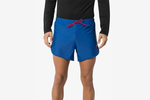 Blue Spino Logo Print Track Shorts