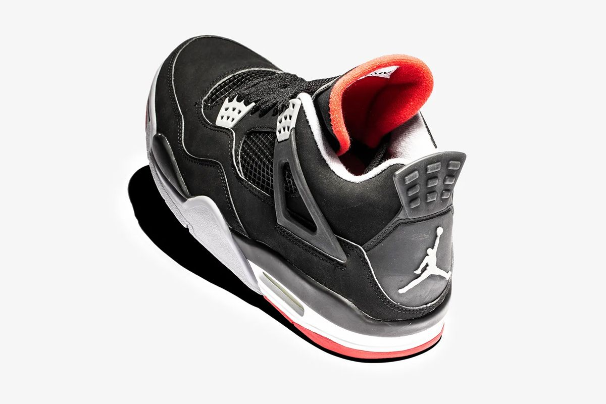 """pretty nice 5cbd6 d3745 For the first time, the Nike Air Jordan 4 """"Bred"""" saw the Jumpman logo  replace the Nike Air branding on the heel. This meant that the iconic logo  was seen on ..."""