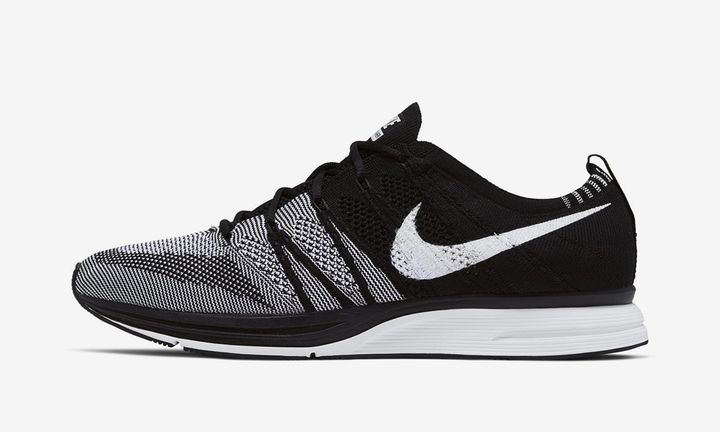 Black and white nike flyknit trainer sneaker