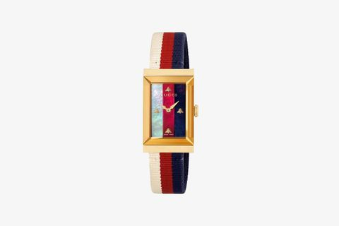 Gucci G-Frame Watch (Cream, Red, And Blue)