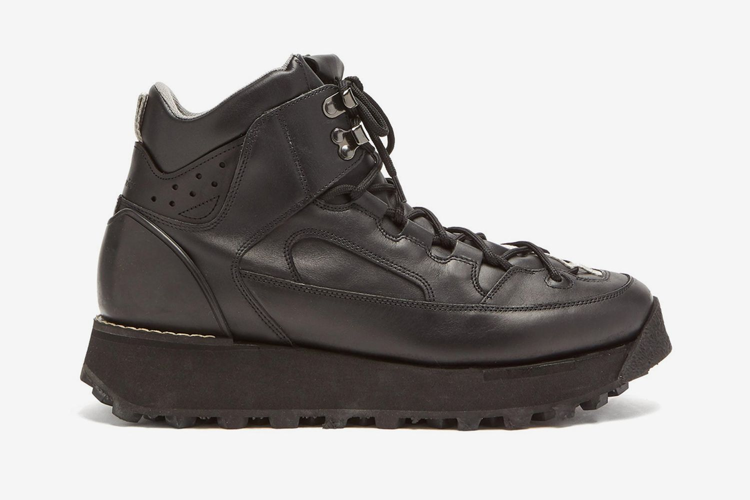 Flatform Leather Hiking Boots