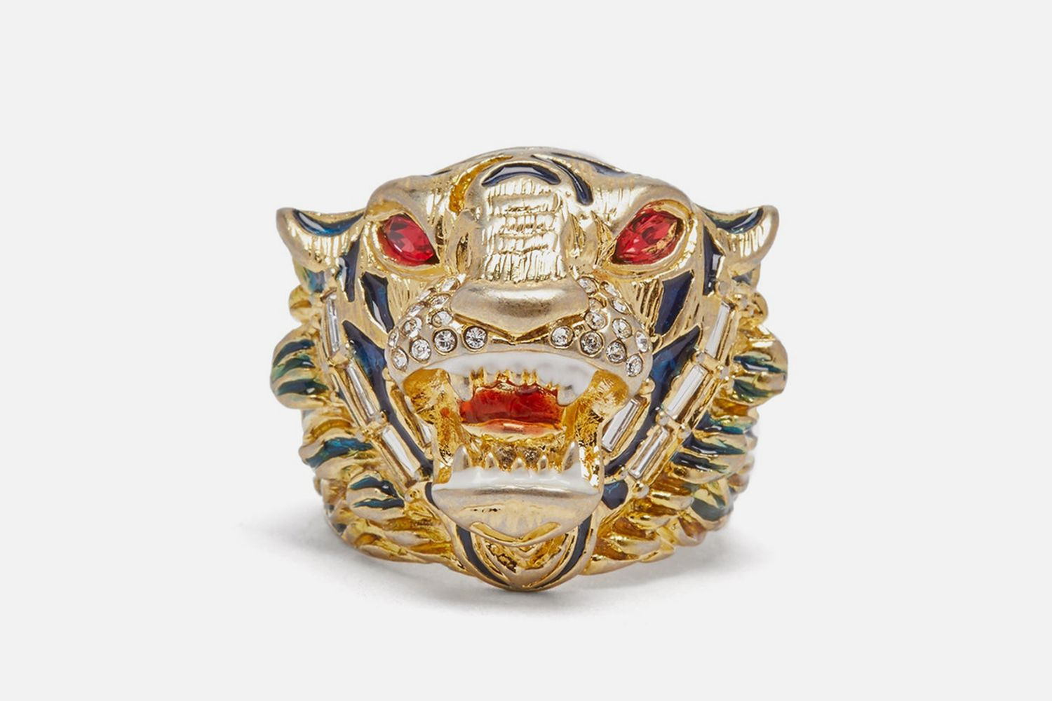 Crystal Embellished Tiger Head Ring