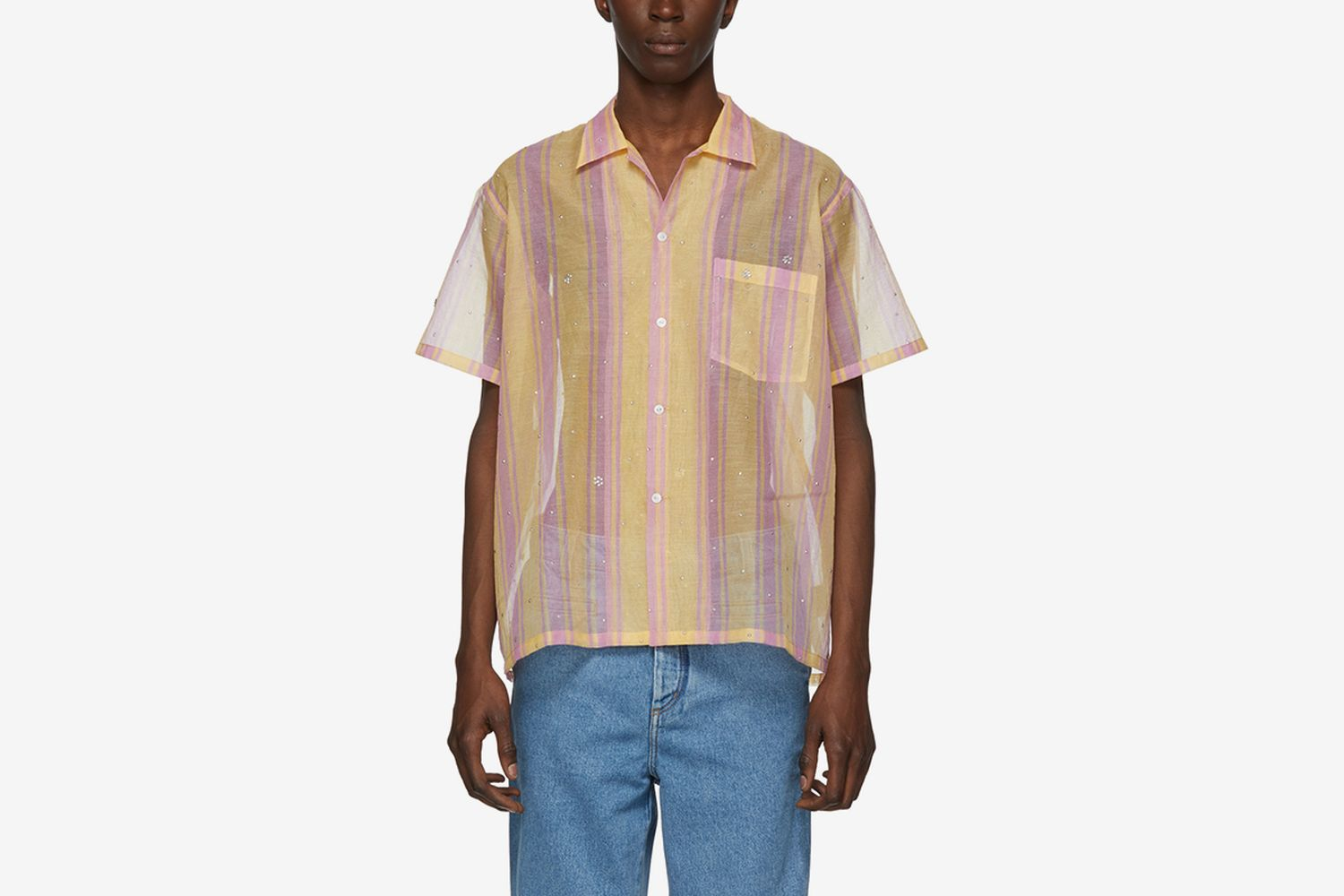 Sheer Stripe Bowling Shirt